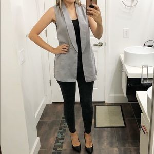 KENAR linen grey long vest.  Size Small